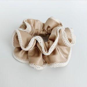 Accessories - Satin Latte Hair Scrunchie Hair Tie